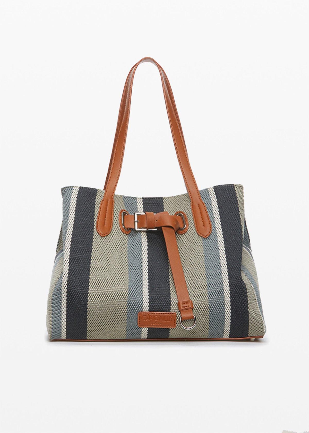 Shopping bag Bright in canvas fabric ed ecopelle con decoro cinturino