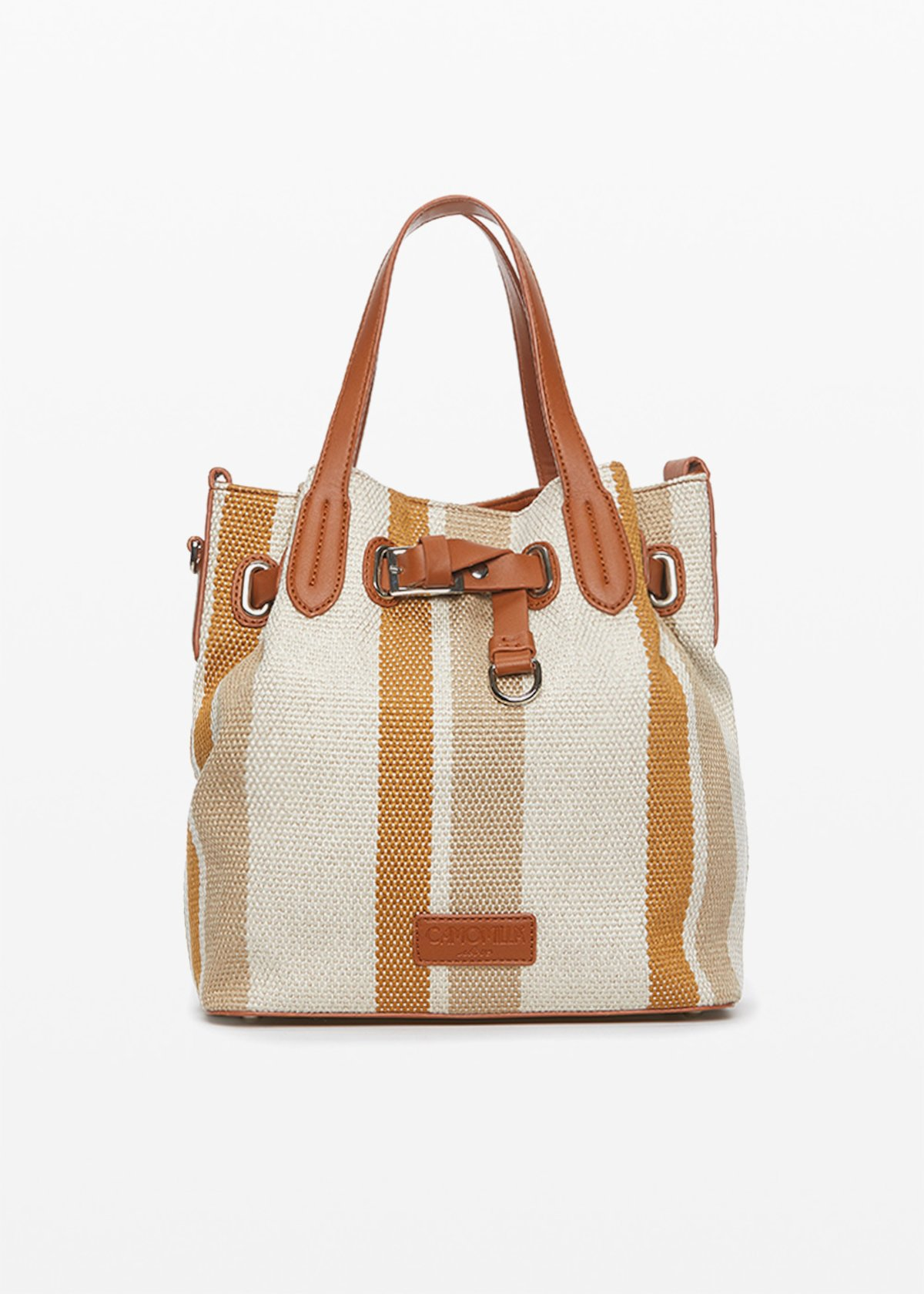 Brady stripes fantasy bucket bag with double faux leather handles - Desert / Lion Stripes - Woman
