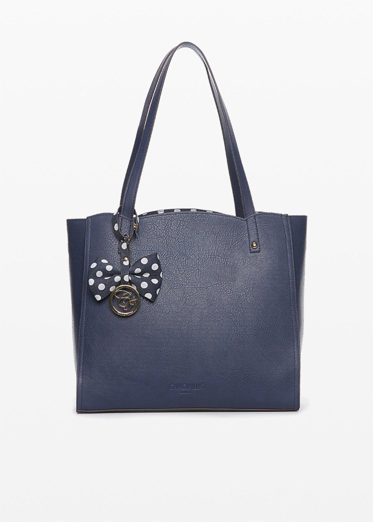 Shopping bag Bryn in ecopelle con fiocco e logo a contrasto
