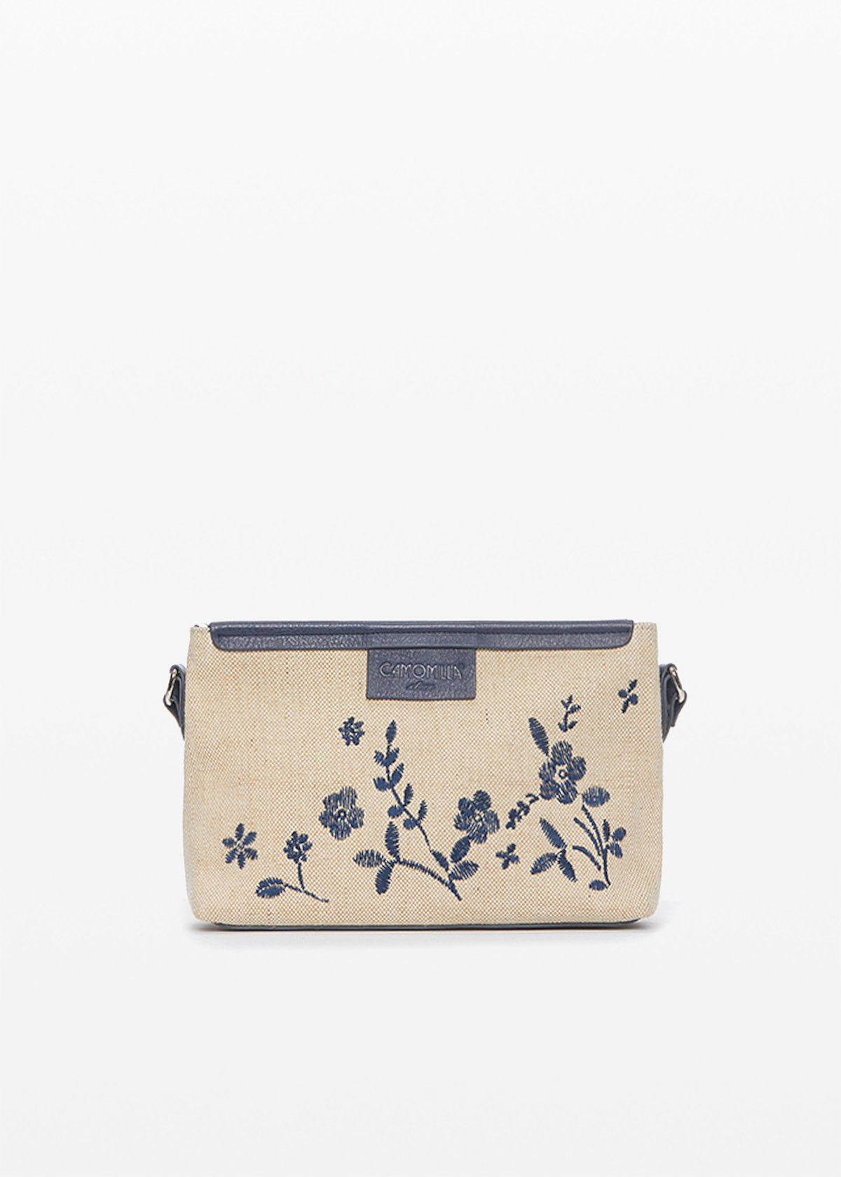 Bunny clutch bag in canvas with flowers decoration - Light Beige /  Medium Blue - Woman
