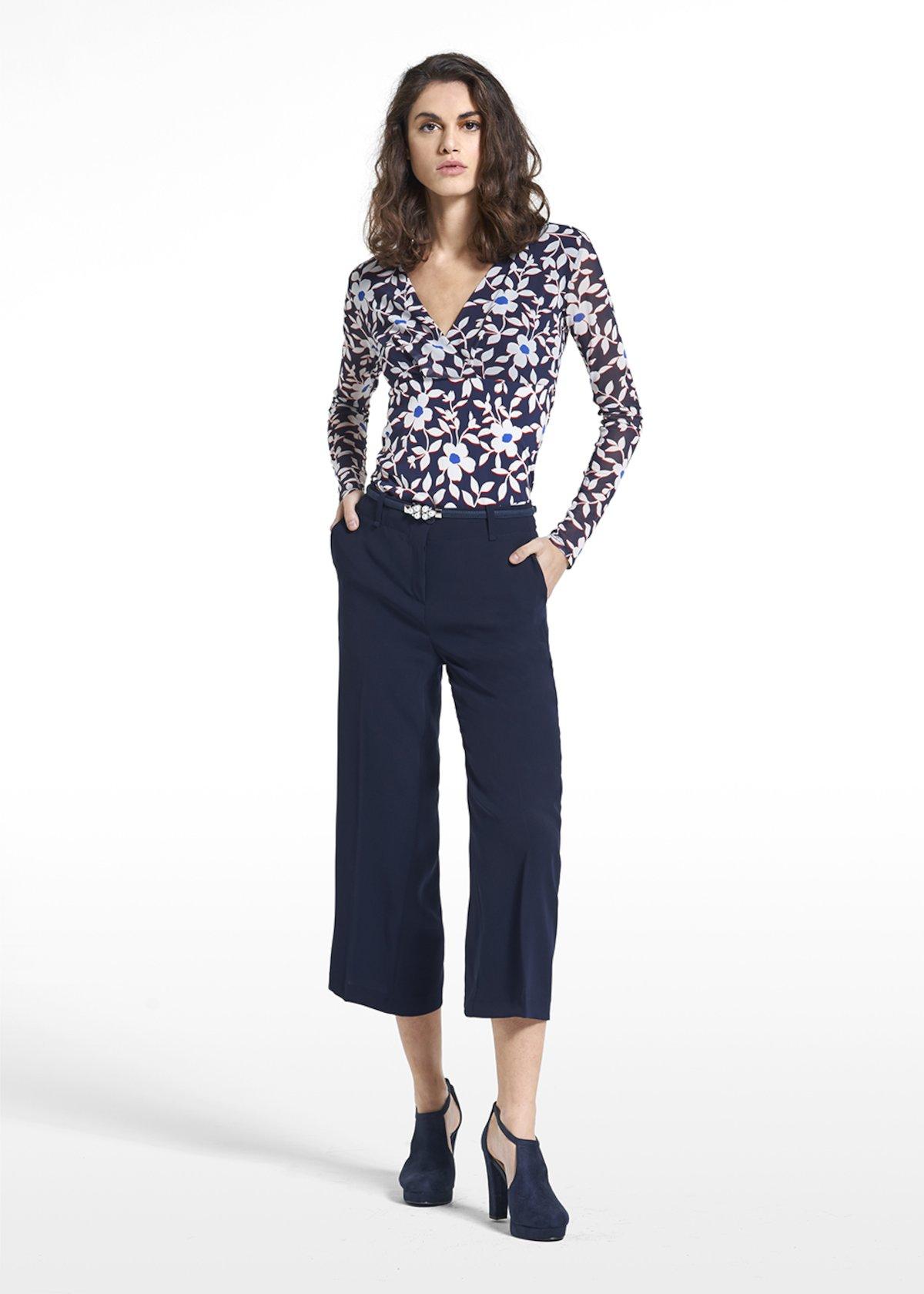 T-shirt Samanta a manica lunga - Blue / White Fantasia - Donna