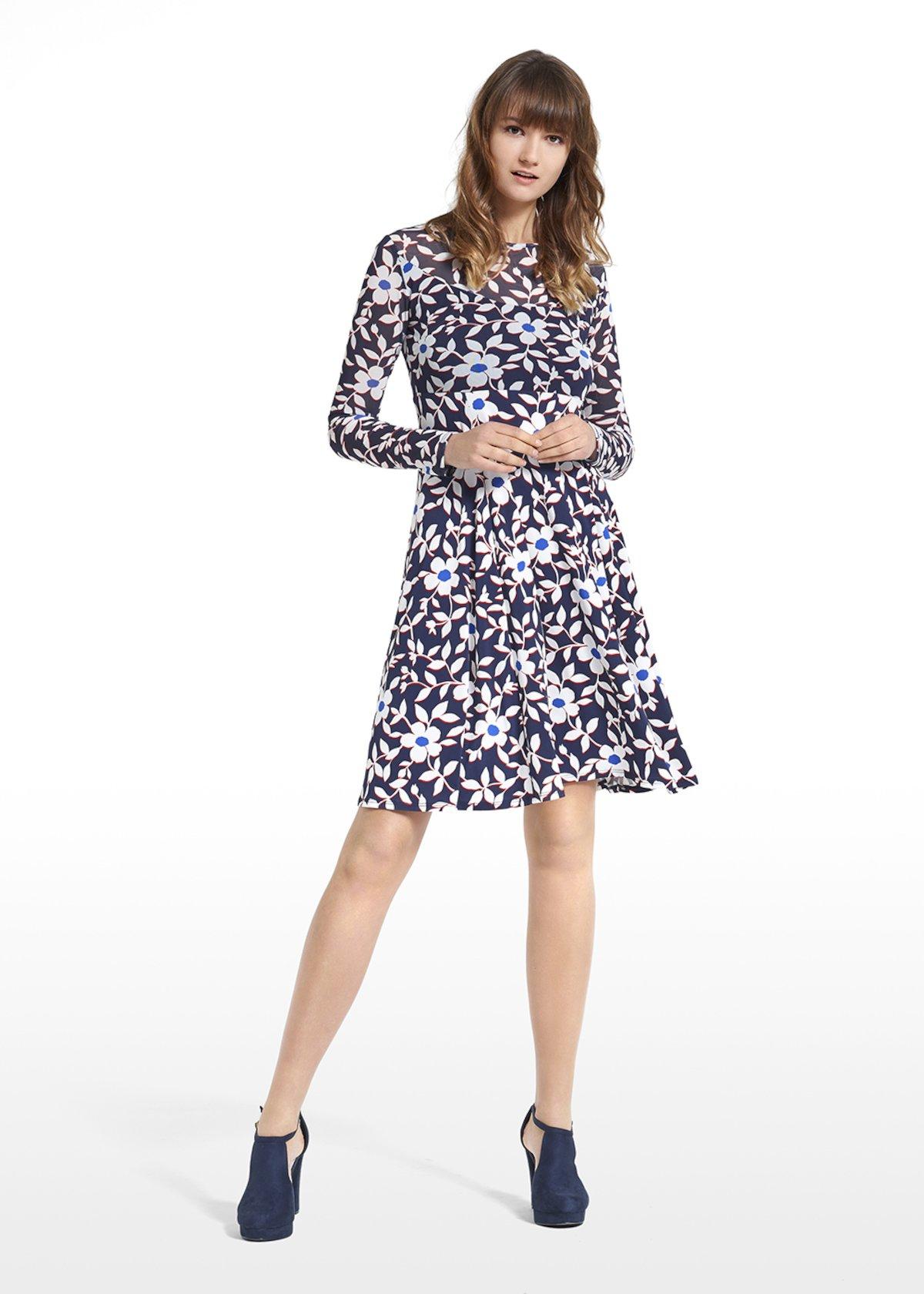 Patterned blue jasmine dress Adele - Blue / White Fantasia - Woman