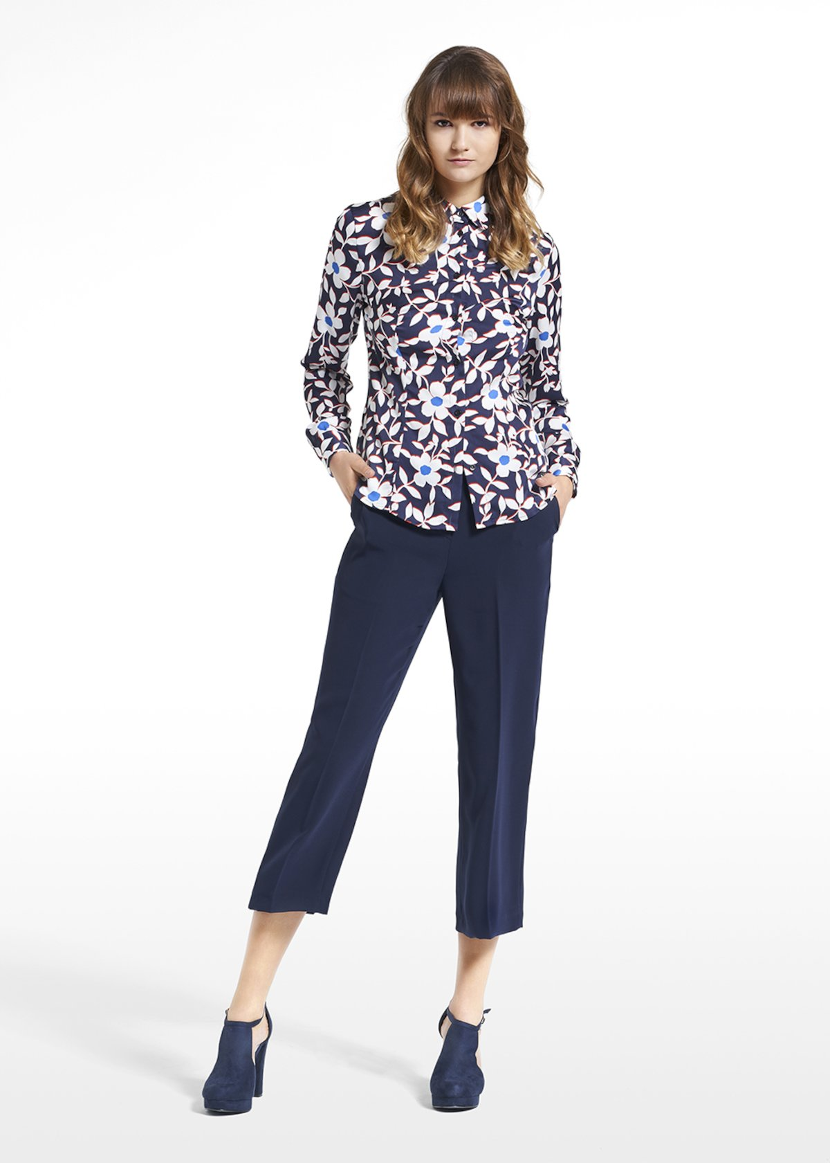 Patterned blue jasmine blouse Camila - Blue / White Fantasia - Woman