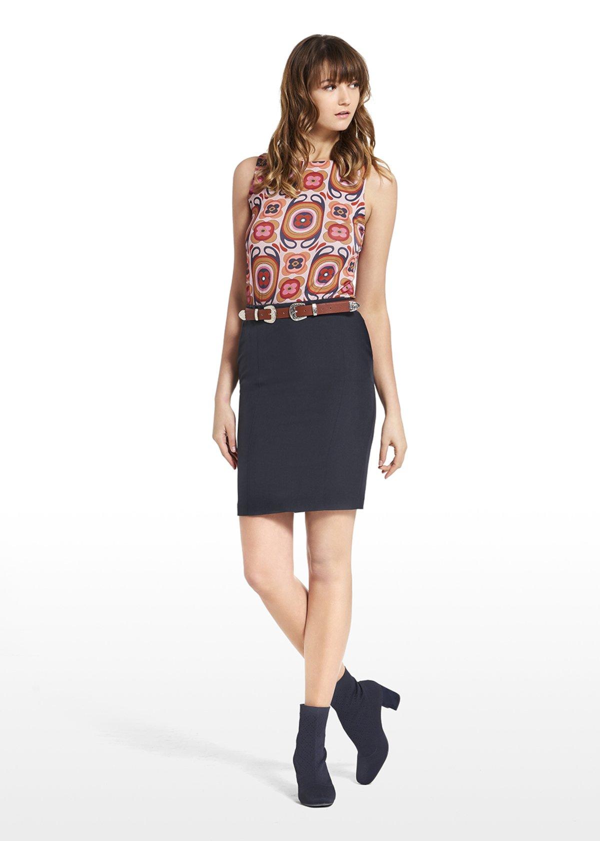 Skirt Gianna with elastic waistband - Medium Blue - Woman