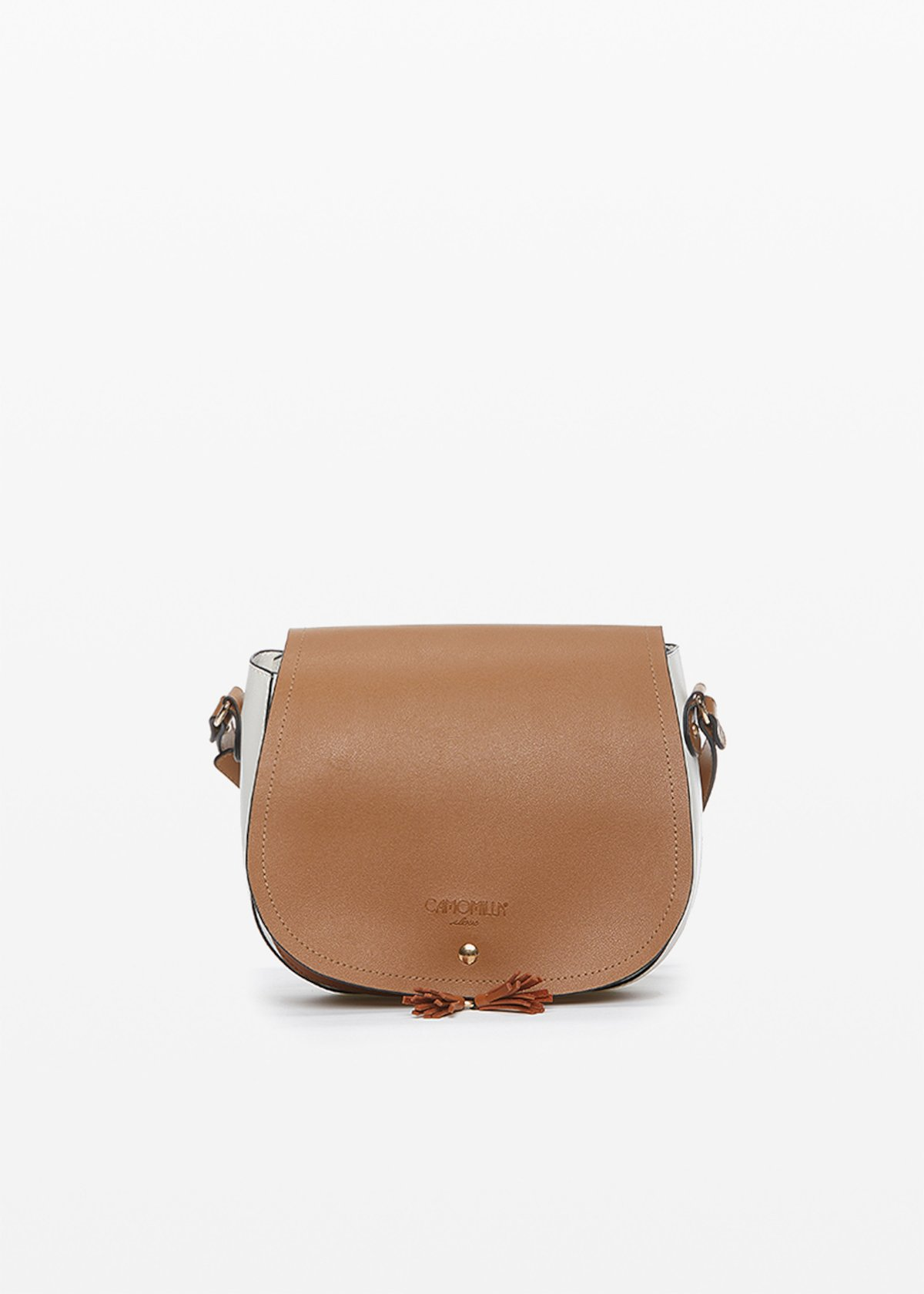 Boppy cross-body bag in bicolor eco-leather with contrasting leaf and micro-nappa decoration - Lion / White - Woman