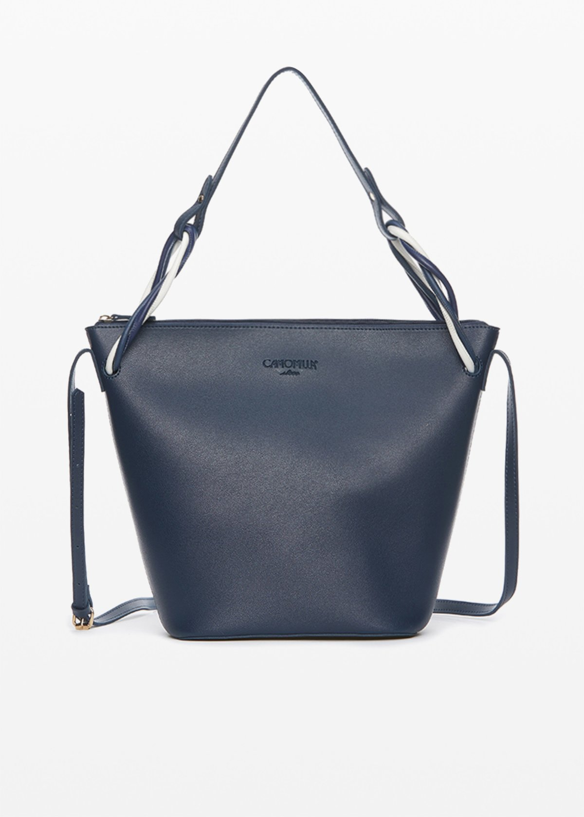 Bucket Beatrix in eco-leather with multicolor detail to the handles - Medium Blue - Woman