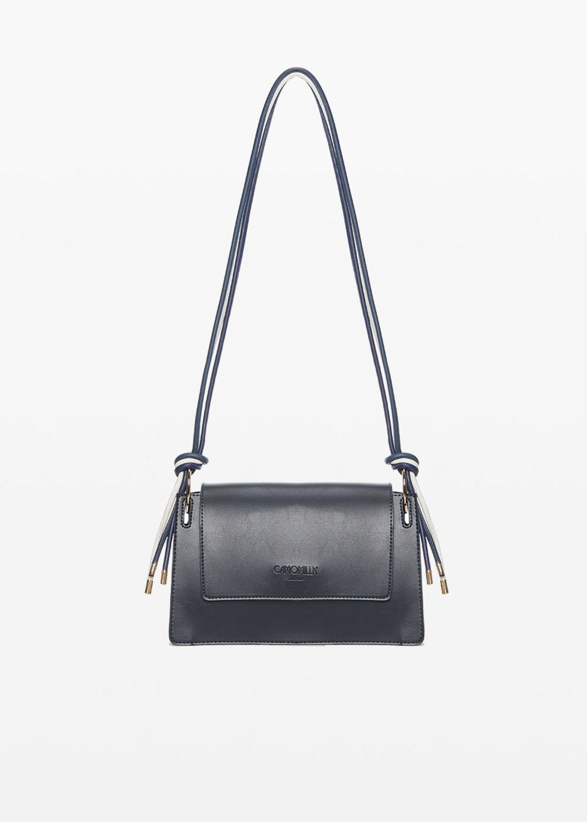 Bertha shoulder bag with layered shoulder strap and light gold details - Medium Blue - Woman - Category image
