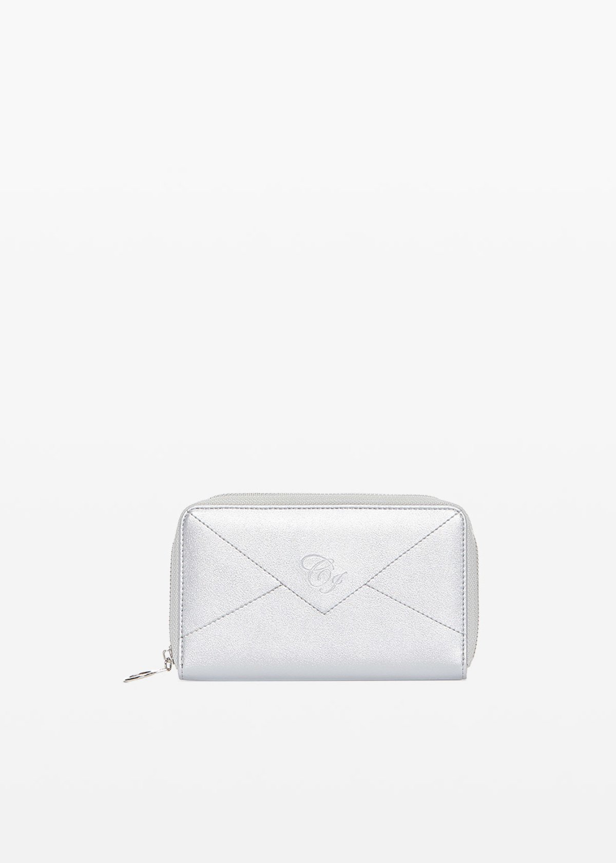 Pamel wallet in faux leather with embossed logo - Silver - Woman