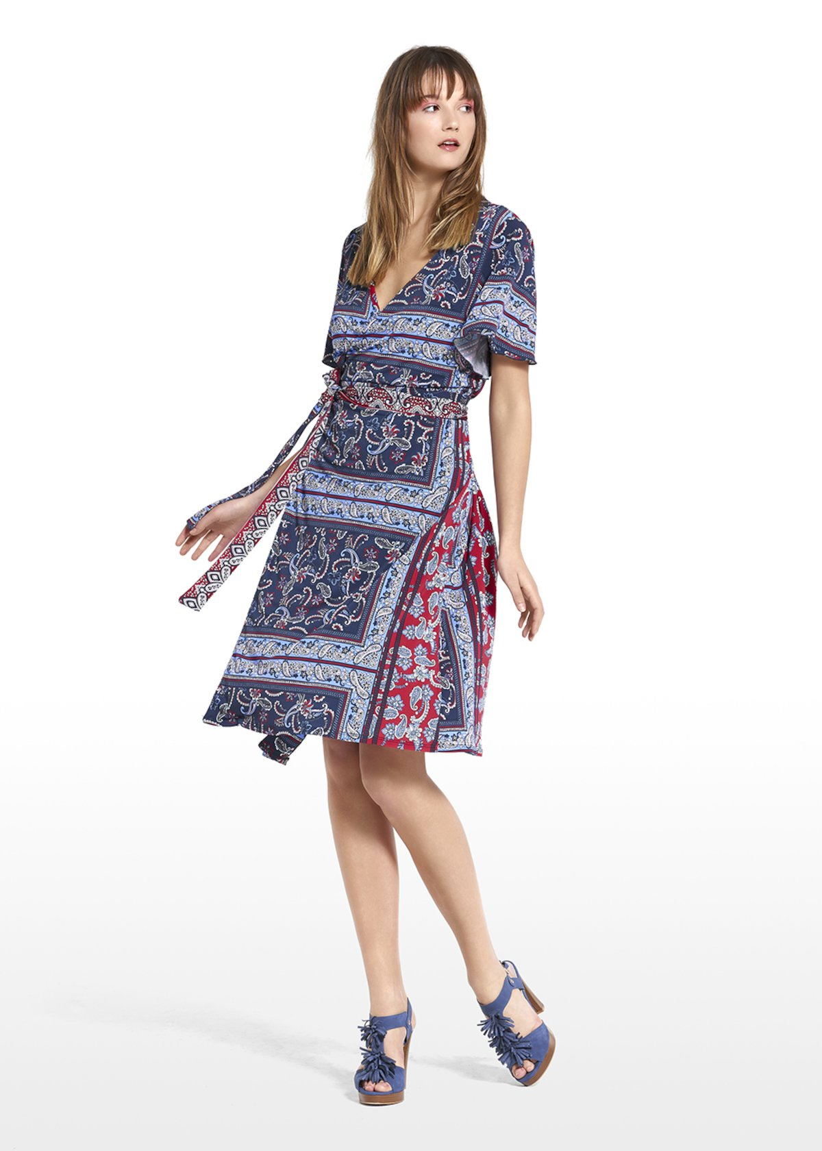Astrid dress with belt at the waist - Blue / Tulipano Fantasia - Woman
