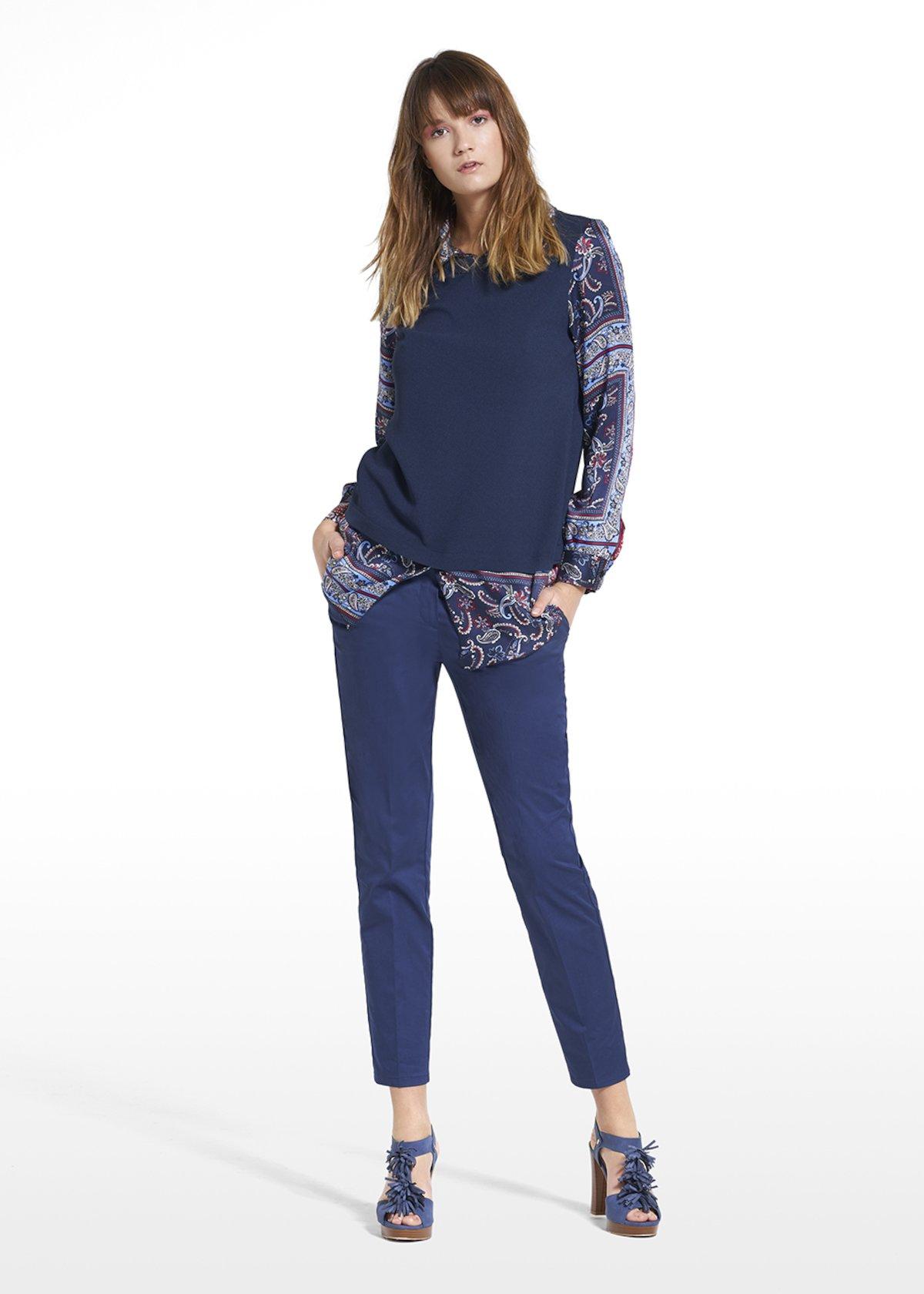 Sefora jersey with wave and levina fabric - Blue / Tulipano Fantasia - Woman