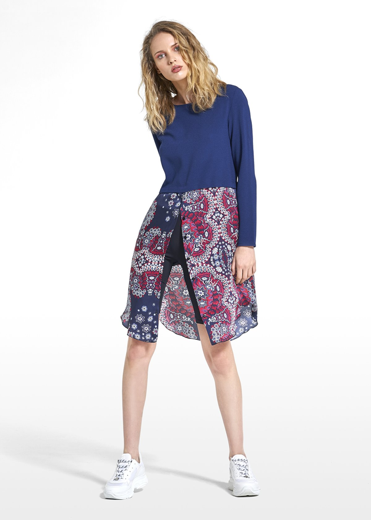 Argo dress with pattern on the skirt - Blue / Tulipano Fantasia - Woman