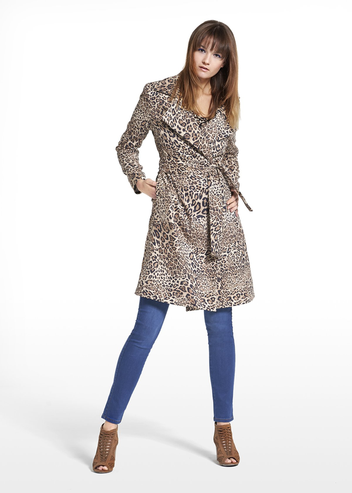Coat Camilo in patterned spotted fabric - Beige / Black Animalier - Woman