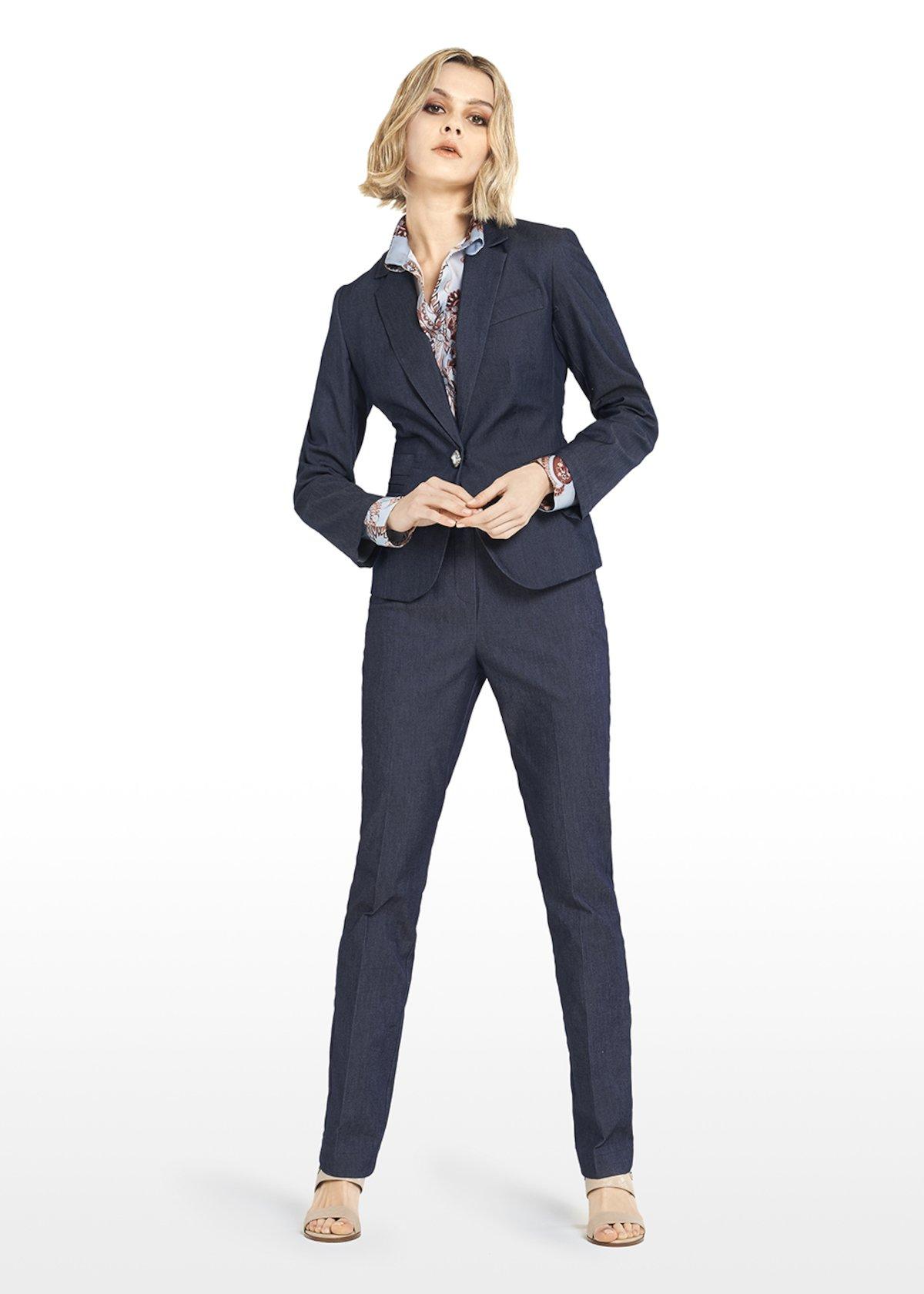 Gaynor Stretch denim jacket and jewel button - Blue - Woman