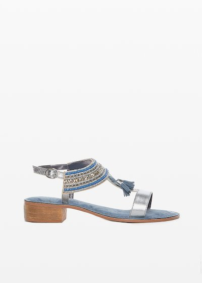 Sydney sandals with embroidery detail and suede tassels