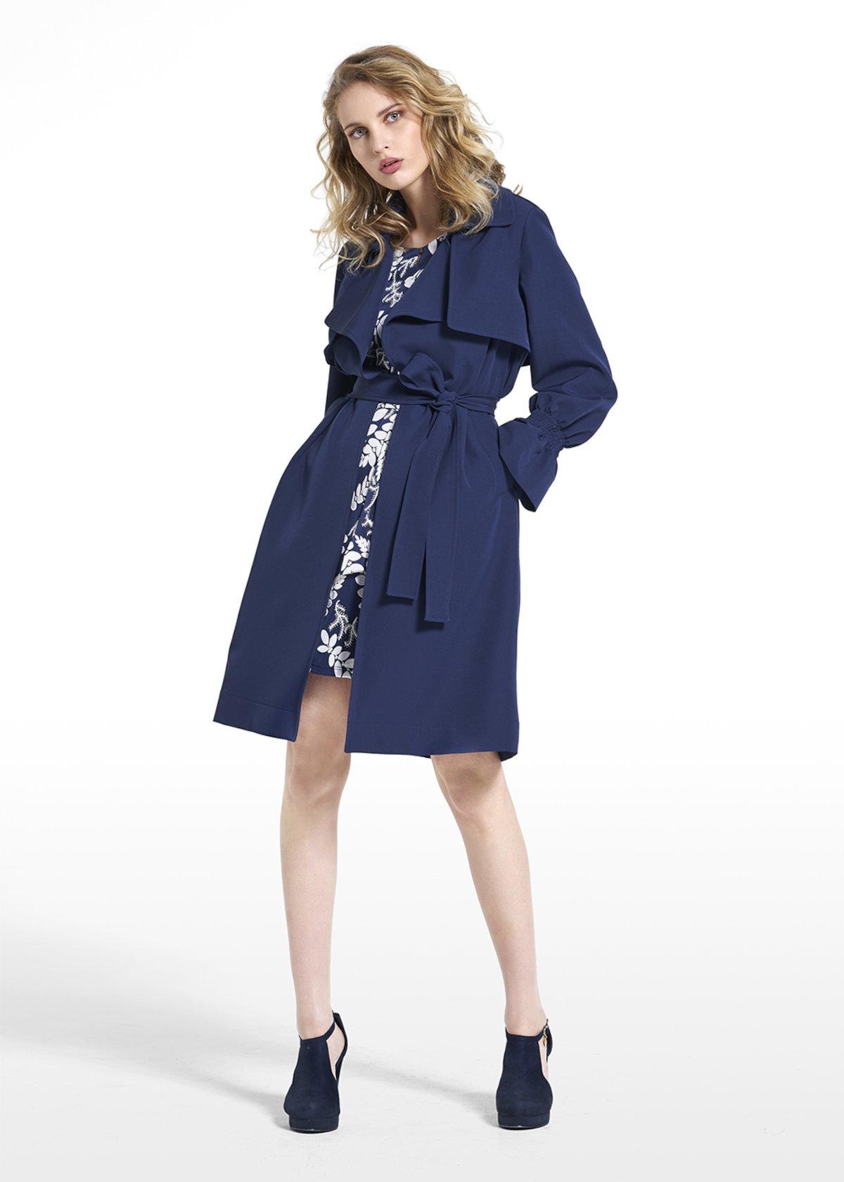 Trench Tender iin technical fabric - Medium Blue - Woman