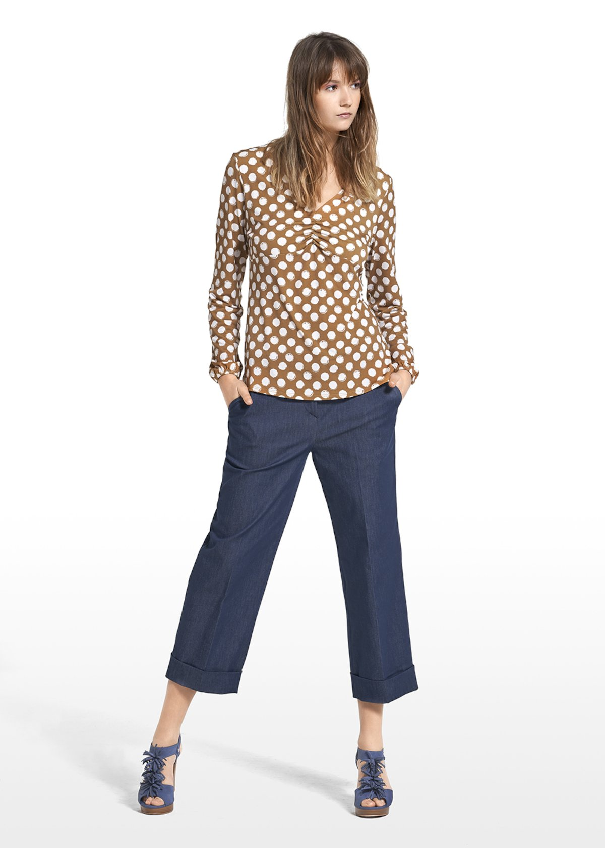 Patterned polka dot on honey-bottom sewater Susan - Miele / White Pois - Woman