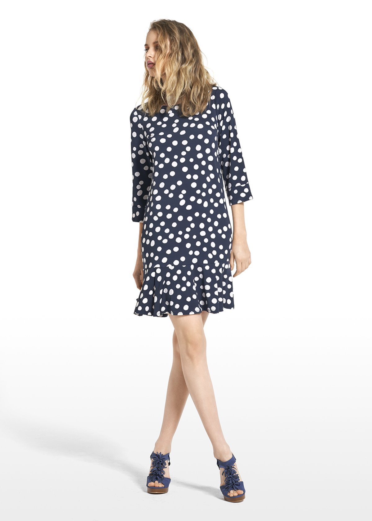 Dress Alois with polka dot pattern - Medium Blue / White Pois - Woman