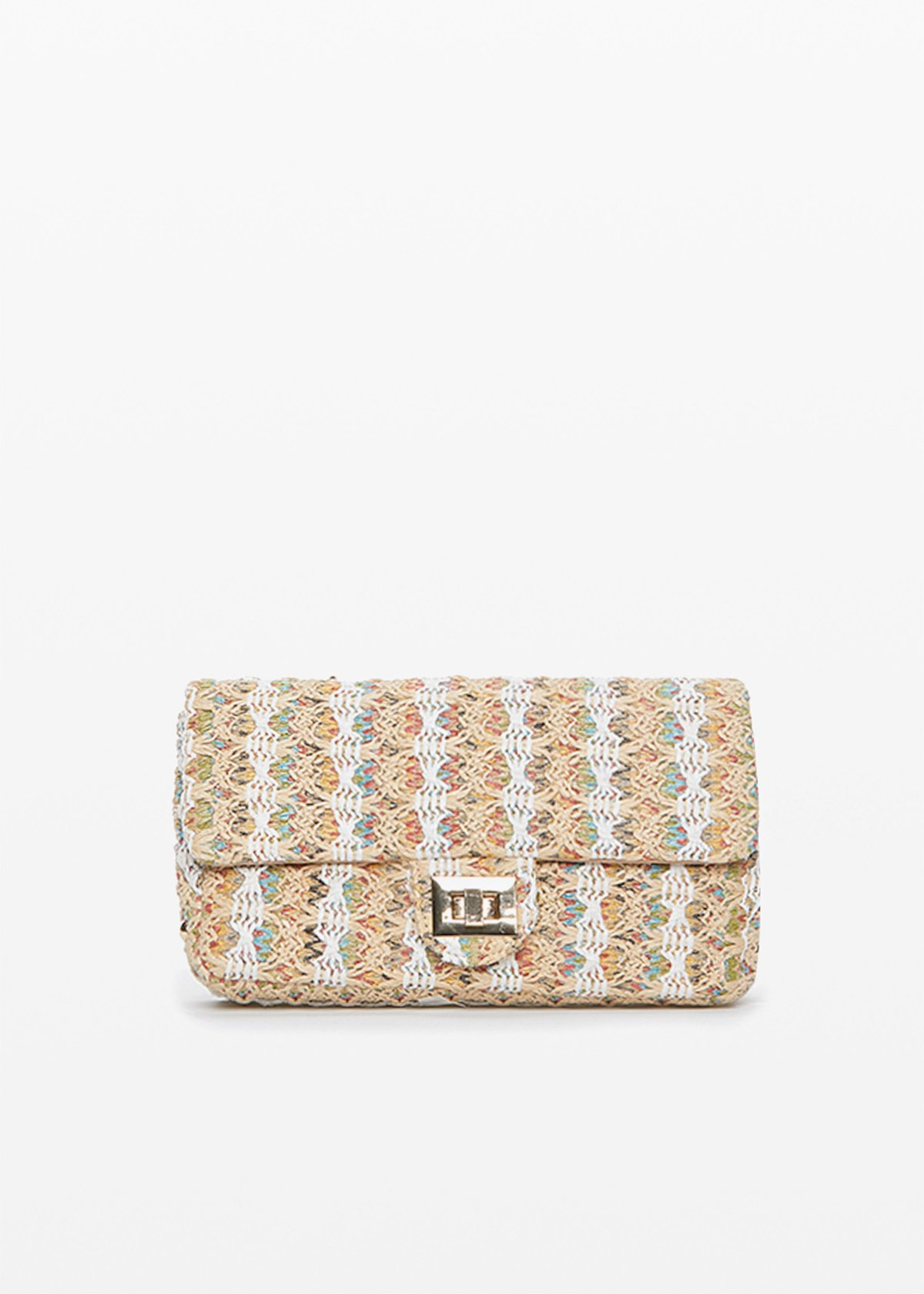 Boss braided fabric multicolour clutch bag