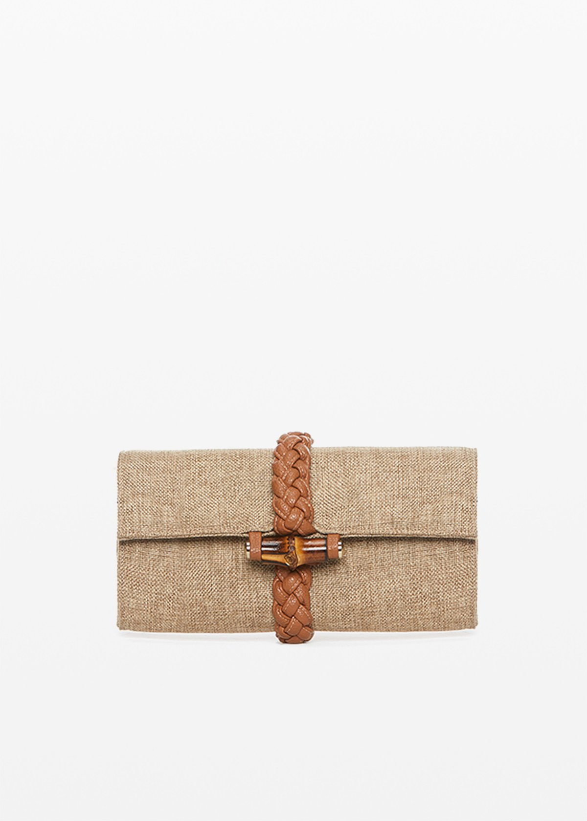 Bard clutch with faux leather braided detail