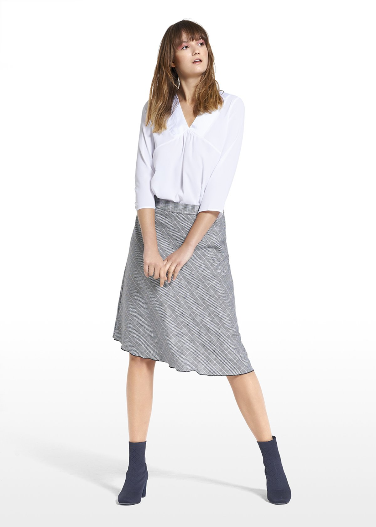 Skirt Geky with check pattern - Black White Fantasia - Woman