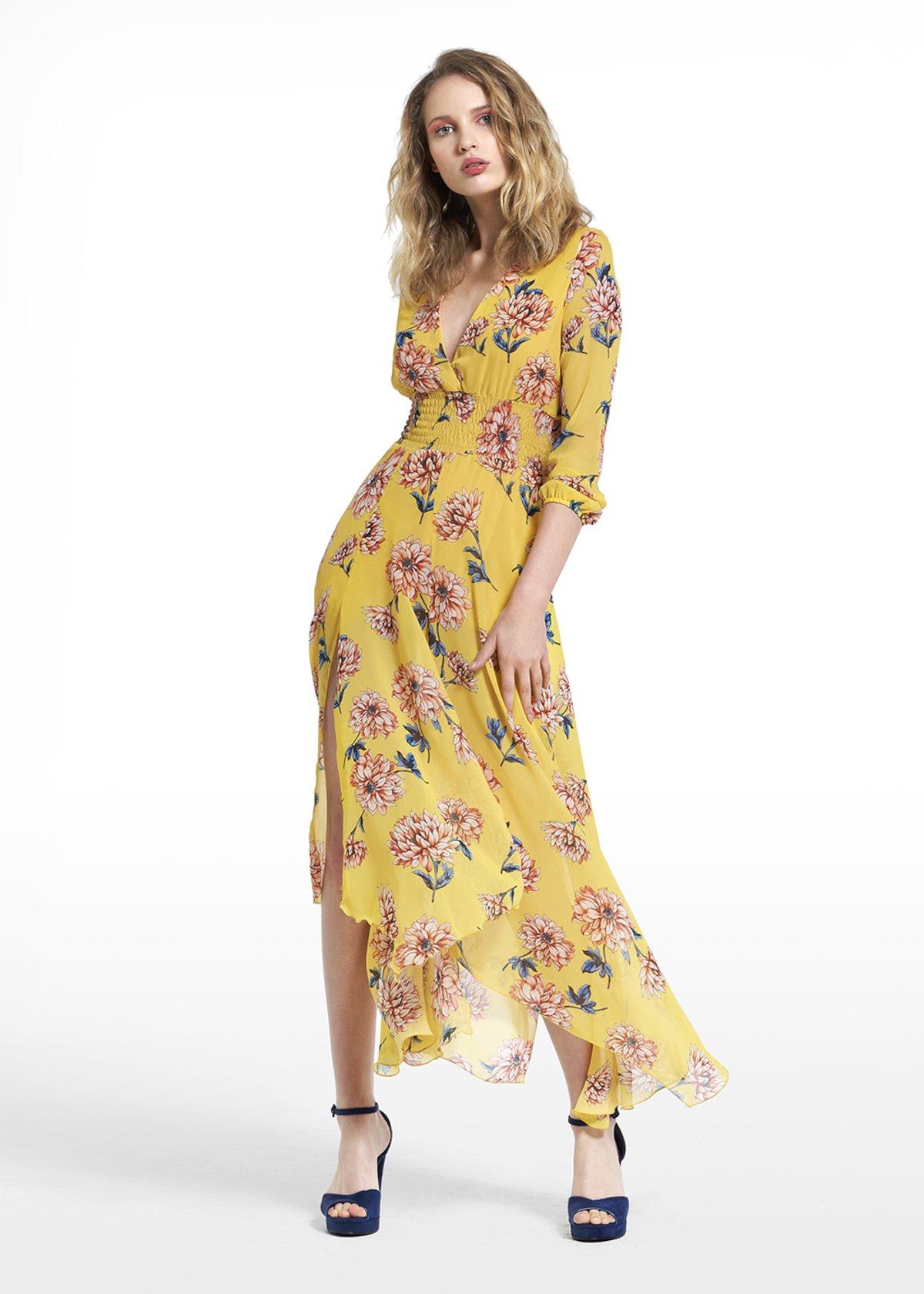 Dress Adone with cross-neckline - Ananas / Calcite Fantasia - Woman