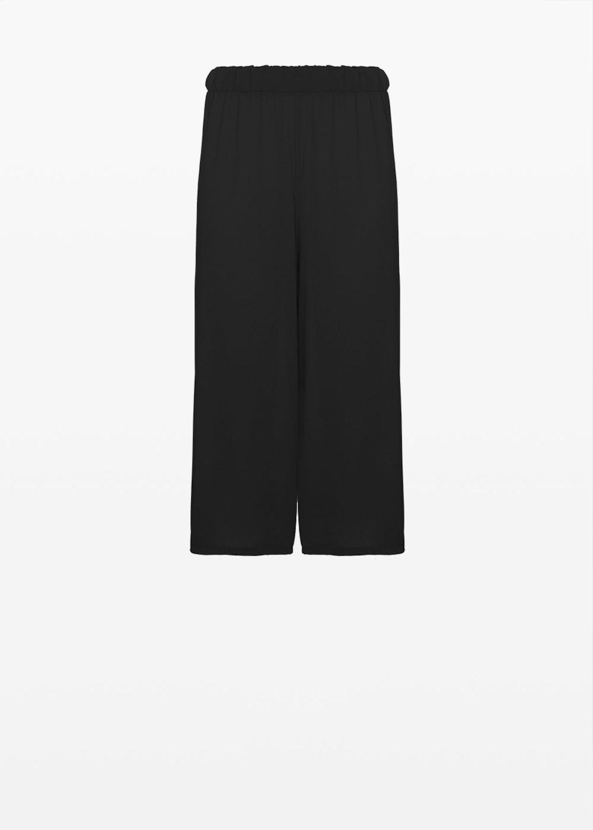 Hammered crepe Peleo trousers with elastic waist - Black - Woman