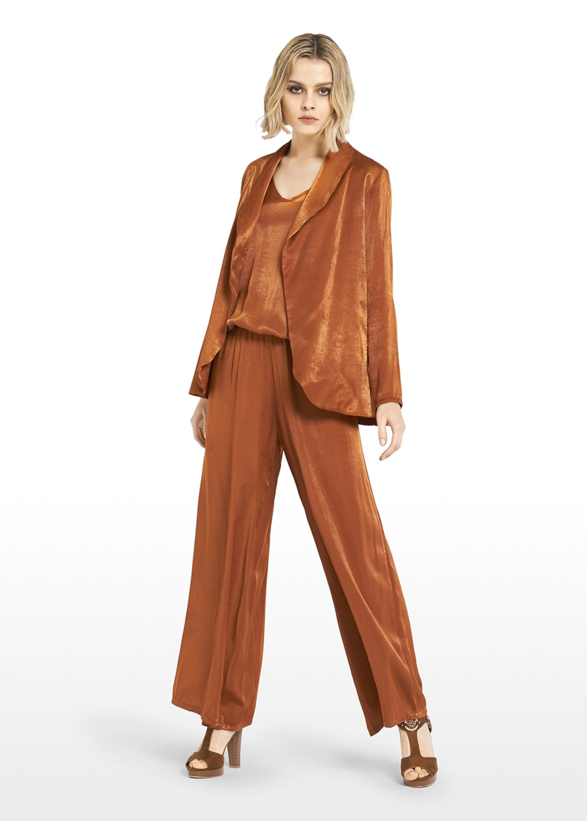 Faux satin Clarck shrug with shawl neck - Copper_Blue - Woman