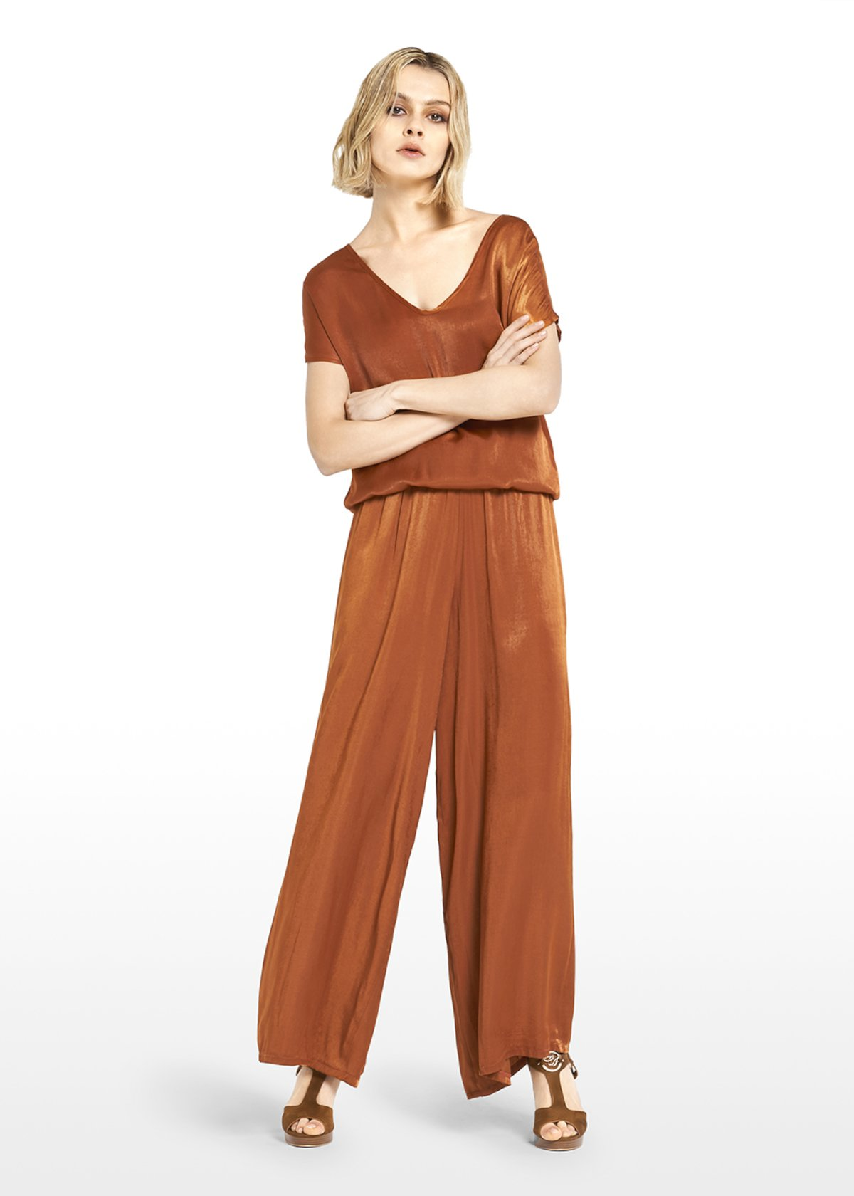Pako trousers satin effect with elastic waist - Copper_Blue - Woman