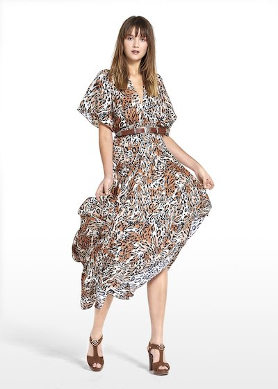 Long dress Alexis with spotted pattern