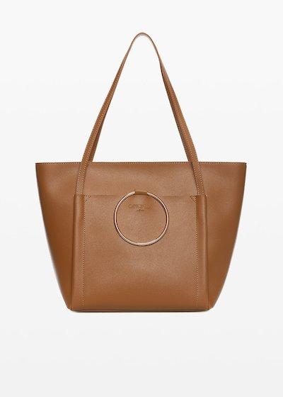 Shopping bag Bali 6 in ecopelle con macro-anello light gold