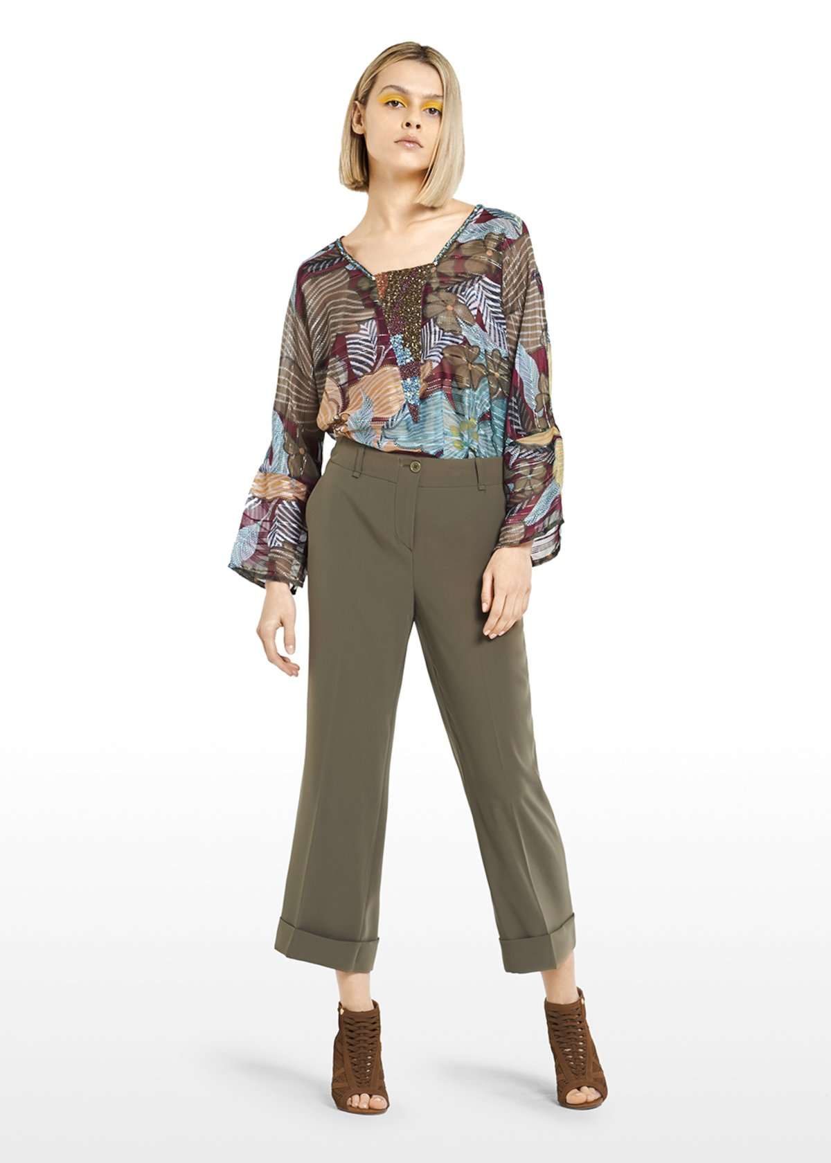 Cady fabric Wide leg Capri trousers