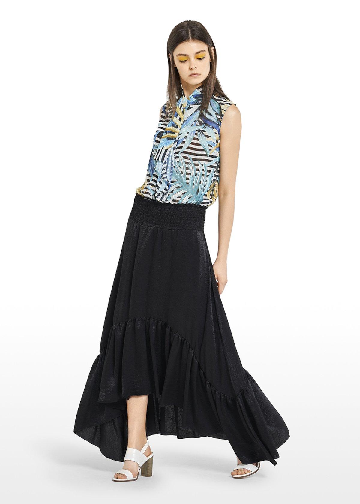 Asymmetric Giady Skirt with maxi flounce on the bottom - Black - Woman