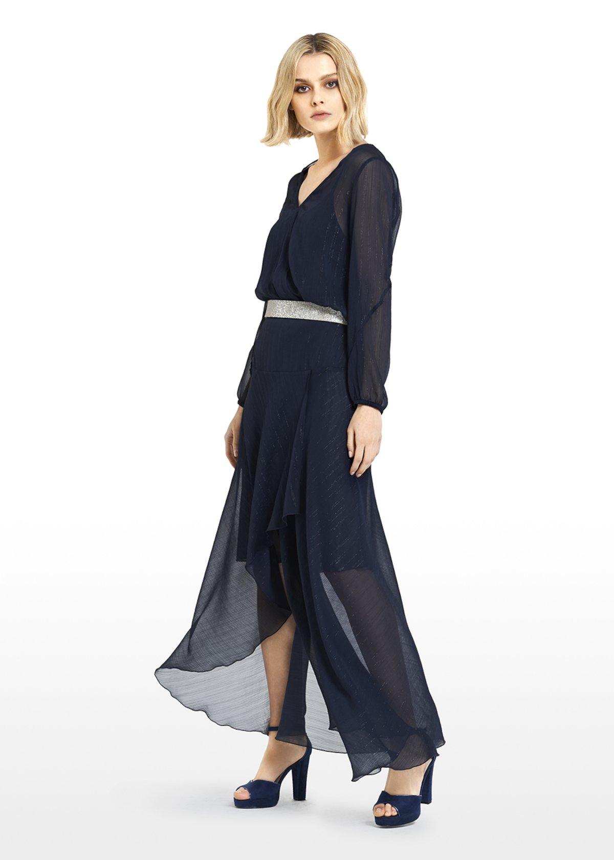 Blusa Carolina stripes lurex effect - Dark Blue - Donna