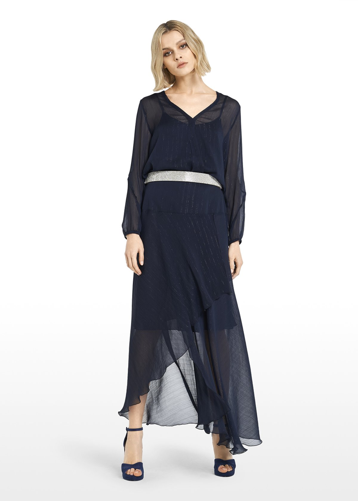 Gemma long skirt with an asymmetric cut - Dark Blue - Woman
