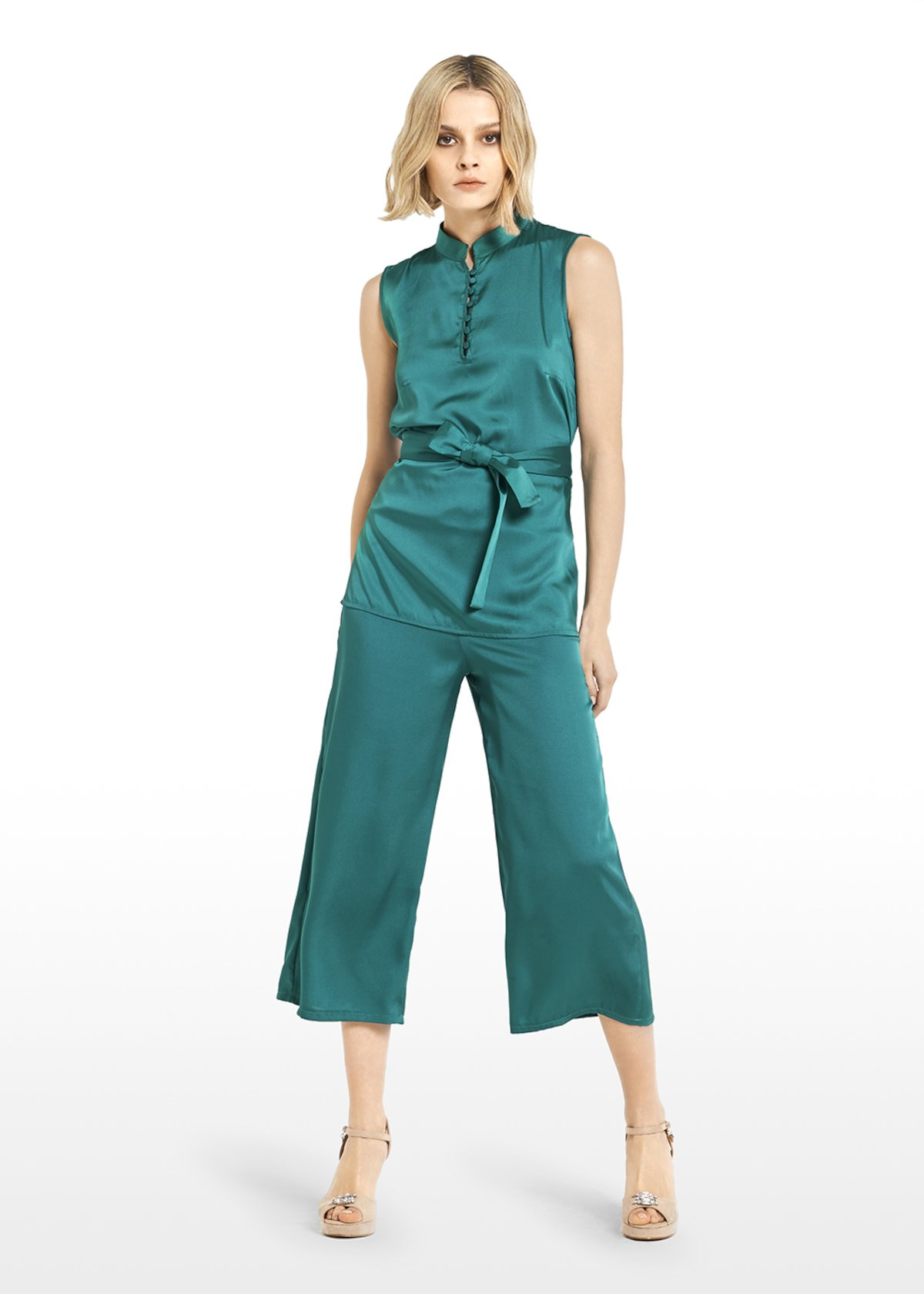 Pagor trousers satin effect with elastic waist - Jungle - Woman
