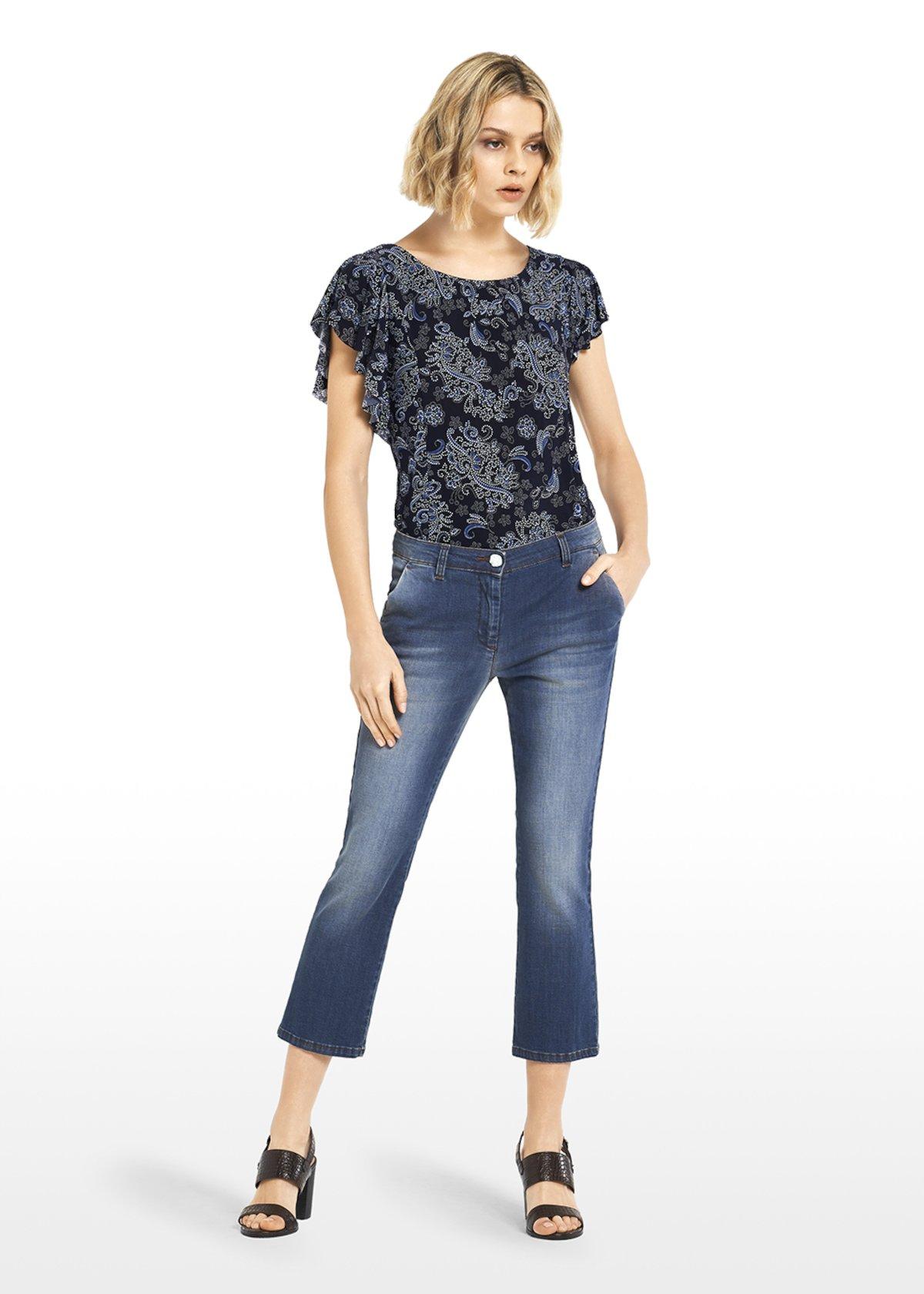 Platone denim Capri trousers with leather colour stitching - Blue - Woman