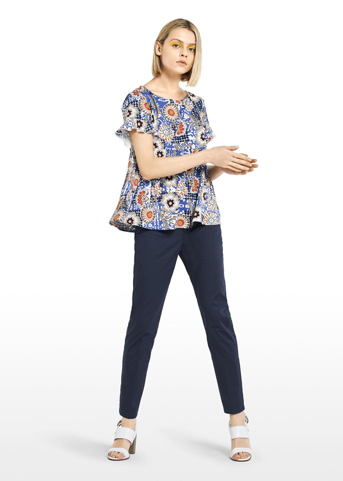 T-shirt Susi con stampa maioliche e rouches - Avion / White Fantasia - Donna - Immagine categoria