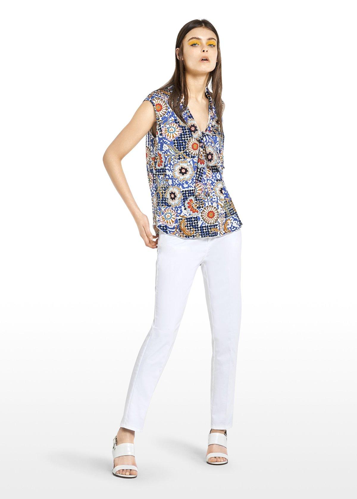 Taty sleeveless top Ankara print - Avion / White Fantasia - Woman