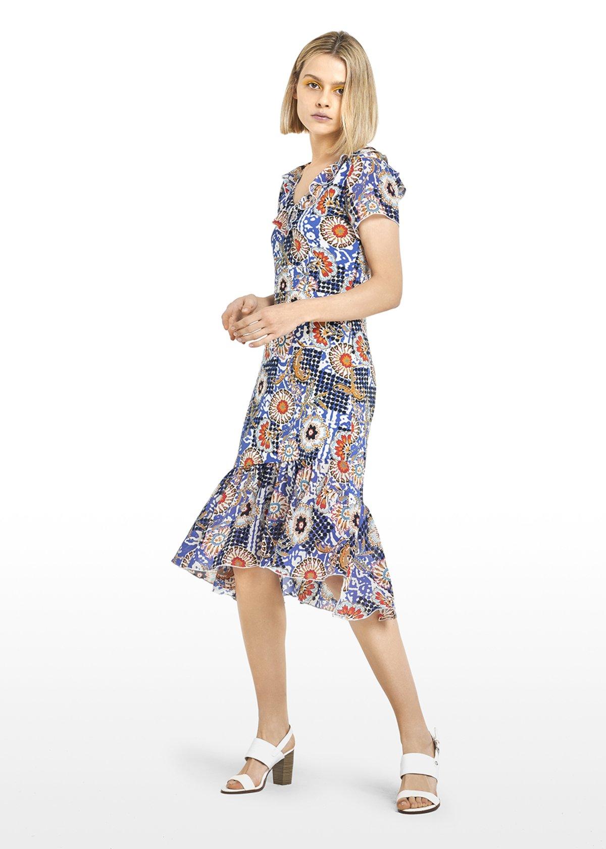 Alvin Short sleeve dress Ankara print - Avion / White Fantasia - Woman