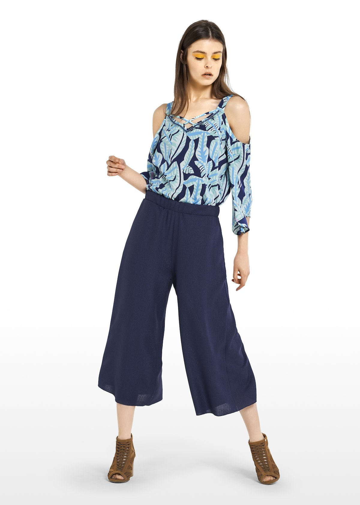 Prisco Capri trousers on blue mat fabric - Medium Blue - Woman - Category image