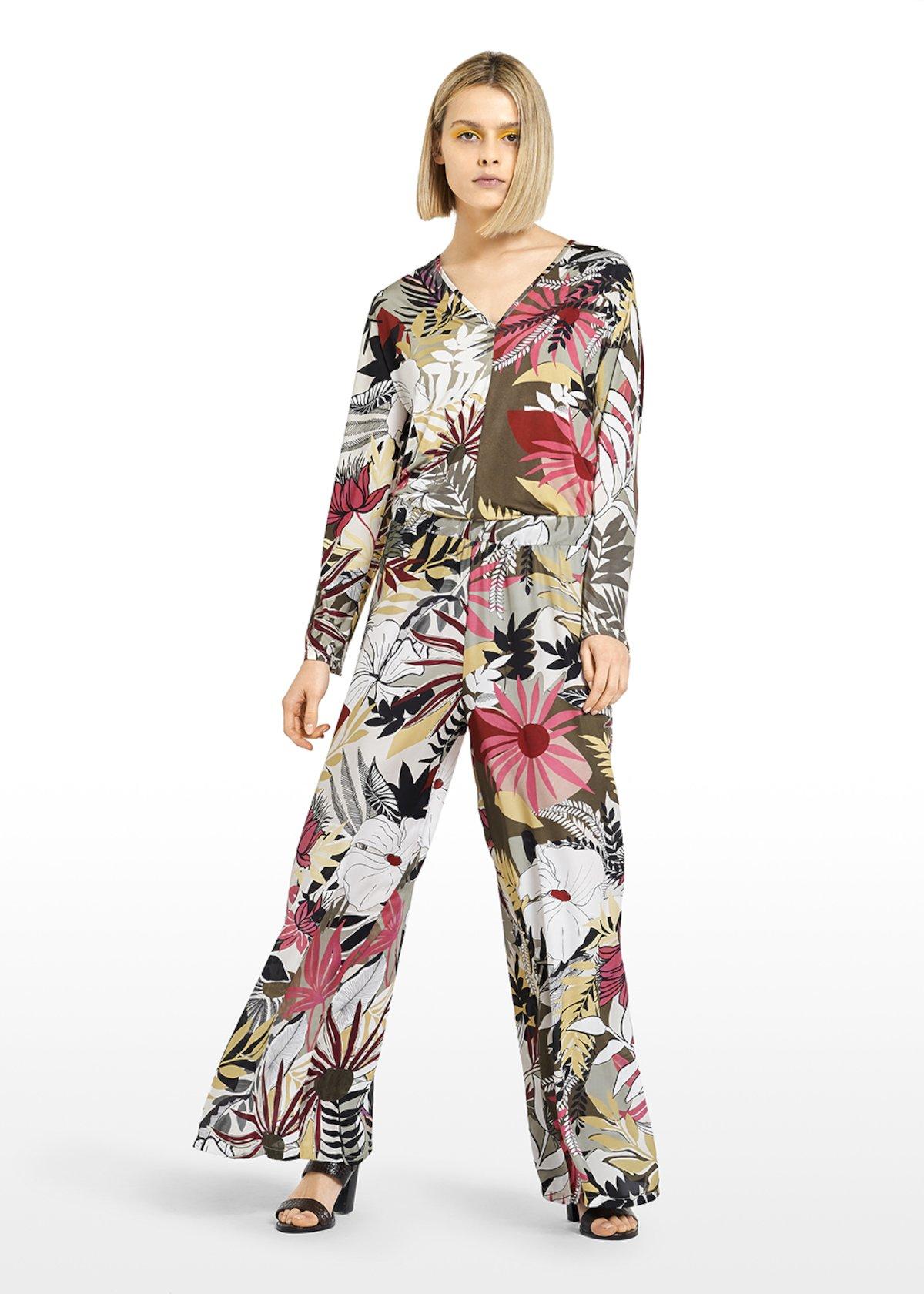 Pantaloni Primero Bali print con elastico in vita - Alga / White Fantasia - Donna