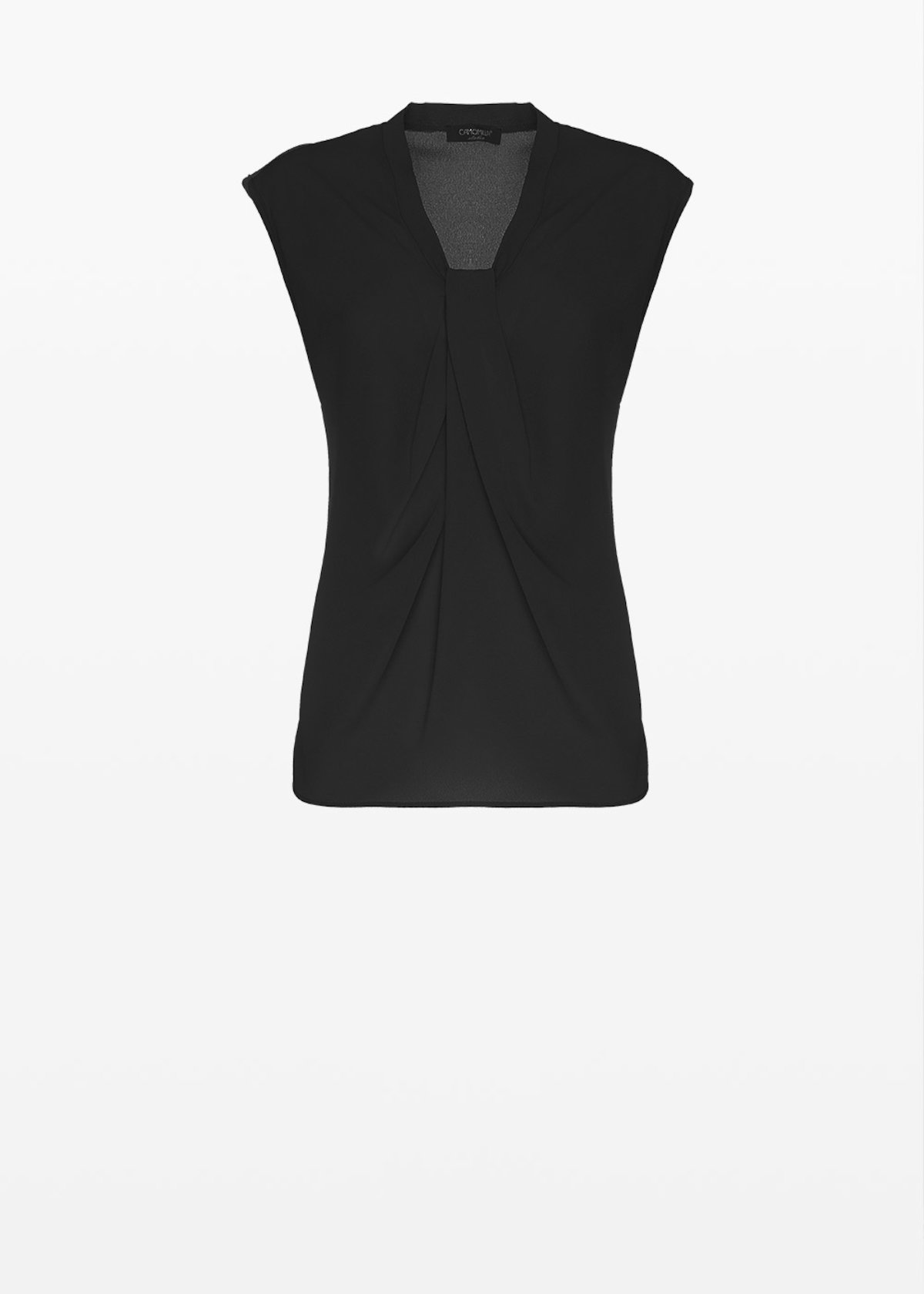 Sleeveless Tom top with knot neckline - Black - Woman
