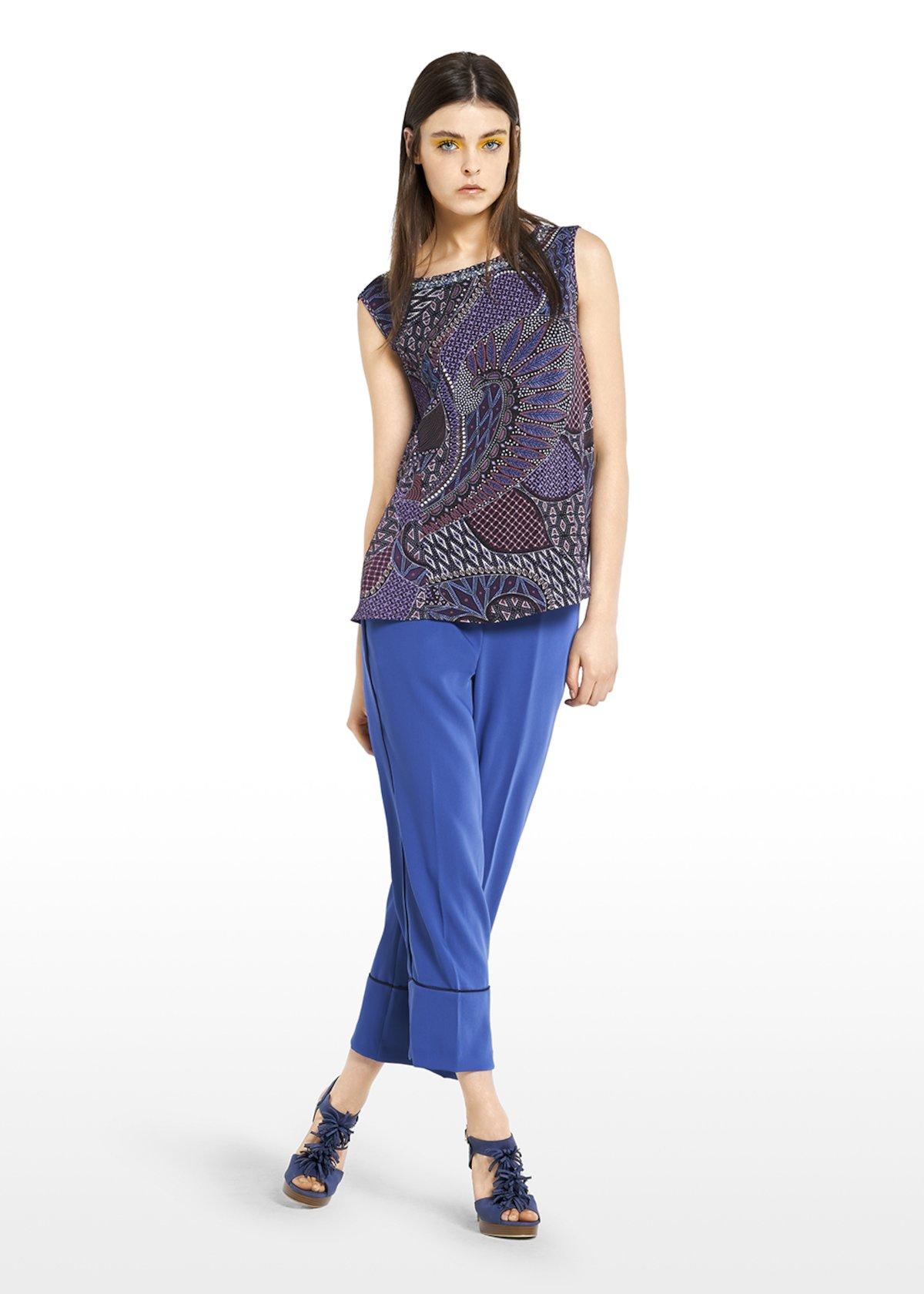 Top Thor henna pattern with neckline applications - Melanzana / Lapis Fantasia - Woman