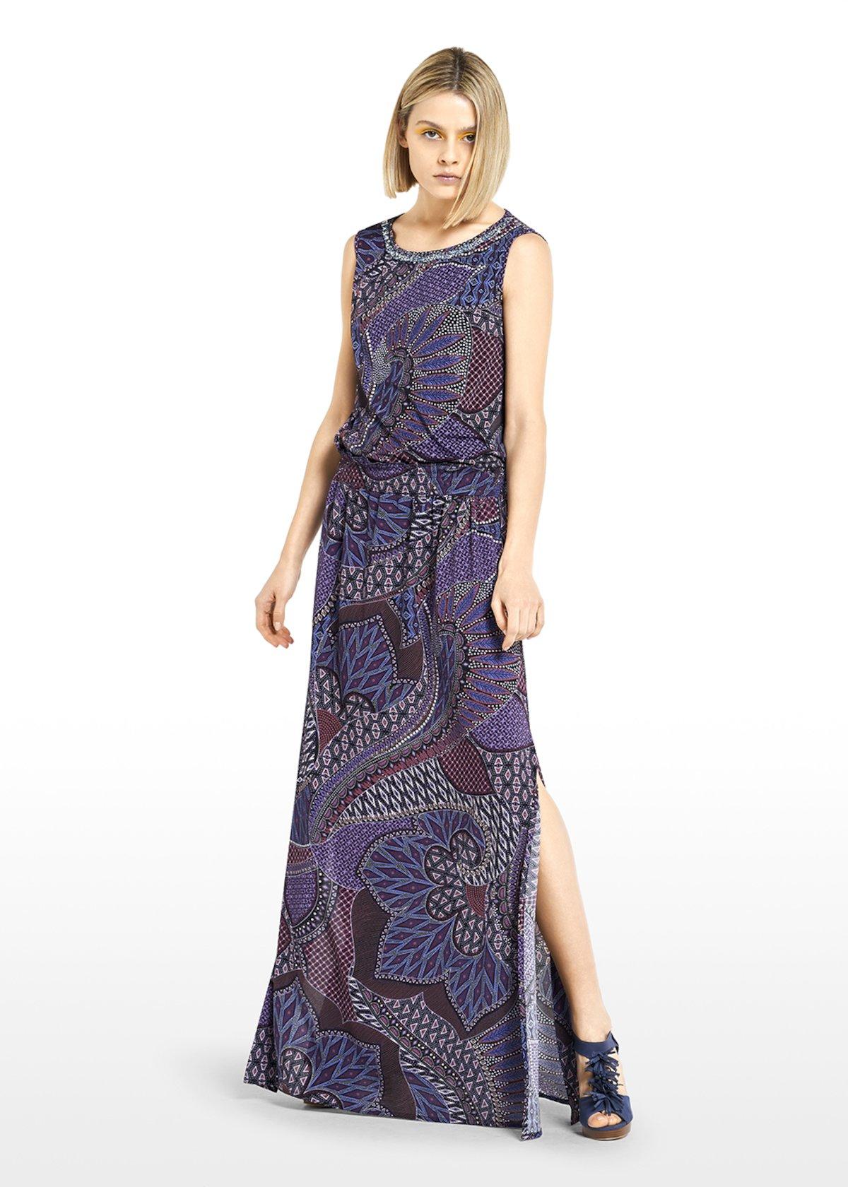 Glady long skirt henna pattern - Melanzana / Lapis Fantasia - Woman
