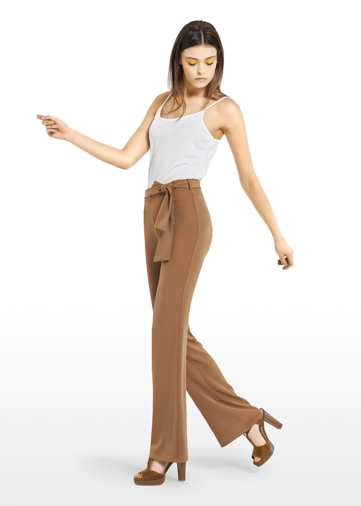 Piko trousers with waist belt - Tobacco - Woman