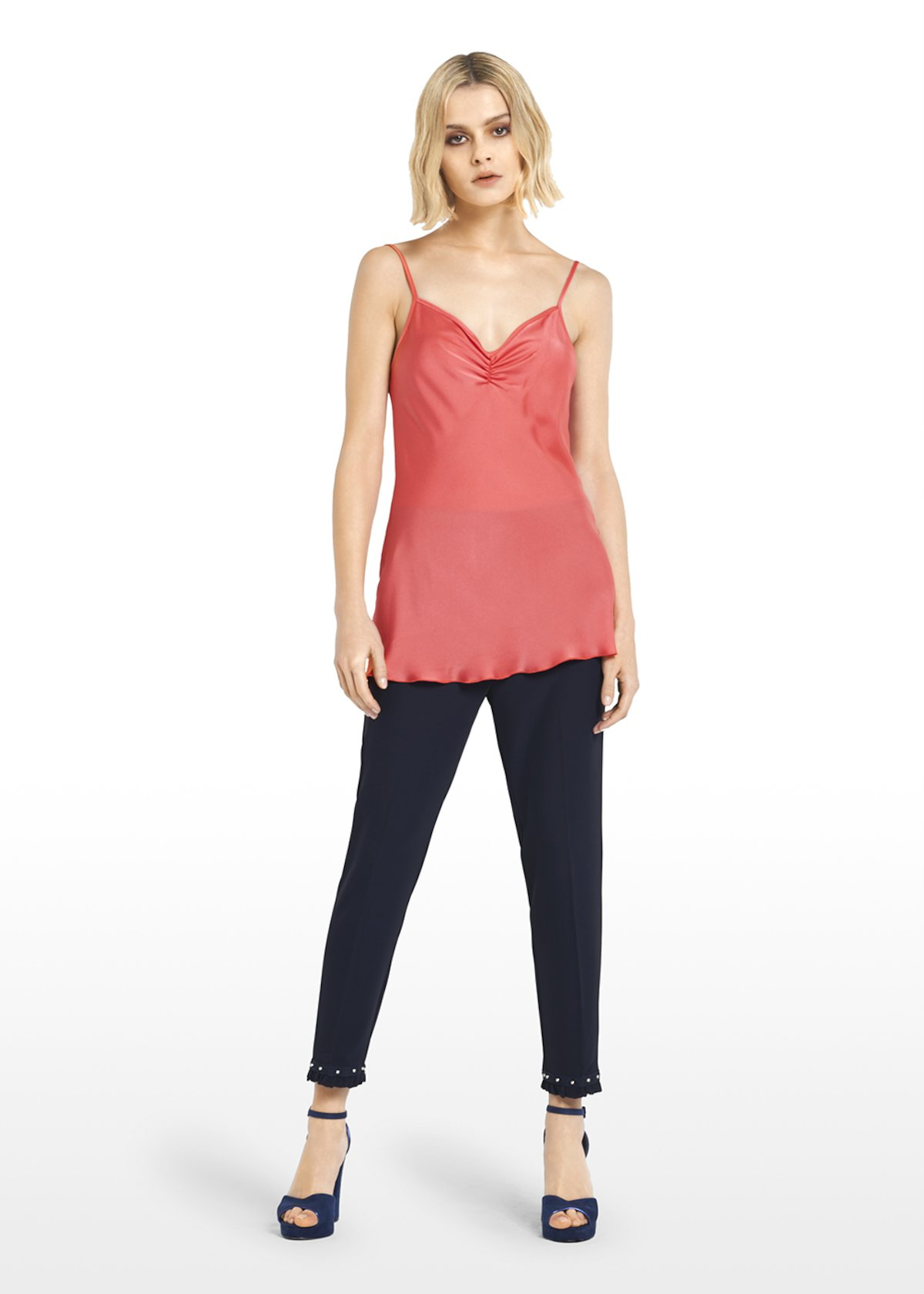 Thil coral Top with pleat detail at neckline - Flamingo - Woman