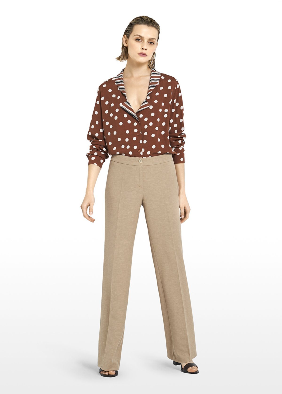 Pyper pants in linen blend fabric with wide leg - Nomad - Woman