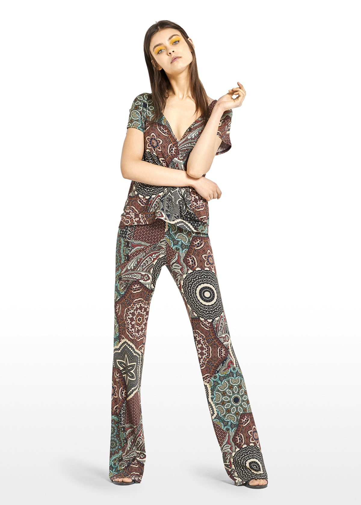Santana jersey shirt with Copacabana pattern - Carota / Alga Fantasia - Woman