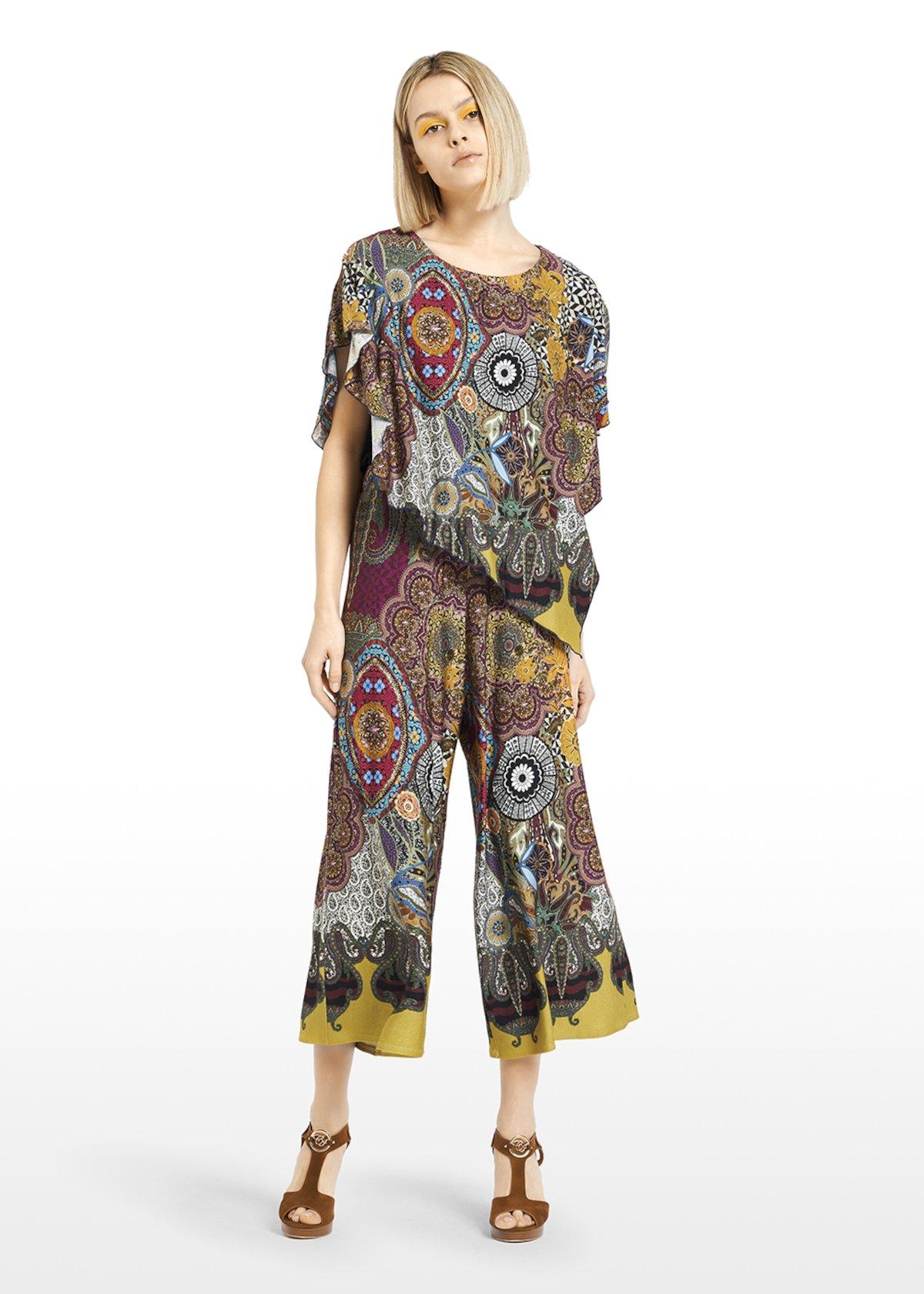 Sveva bimaterial T-shirt with ruffle sleeves - Miele / Black Fantasia - Woman - Category image