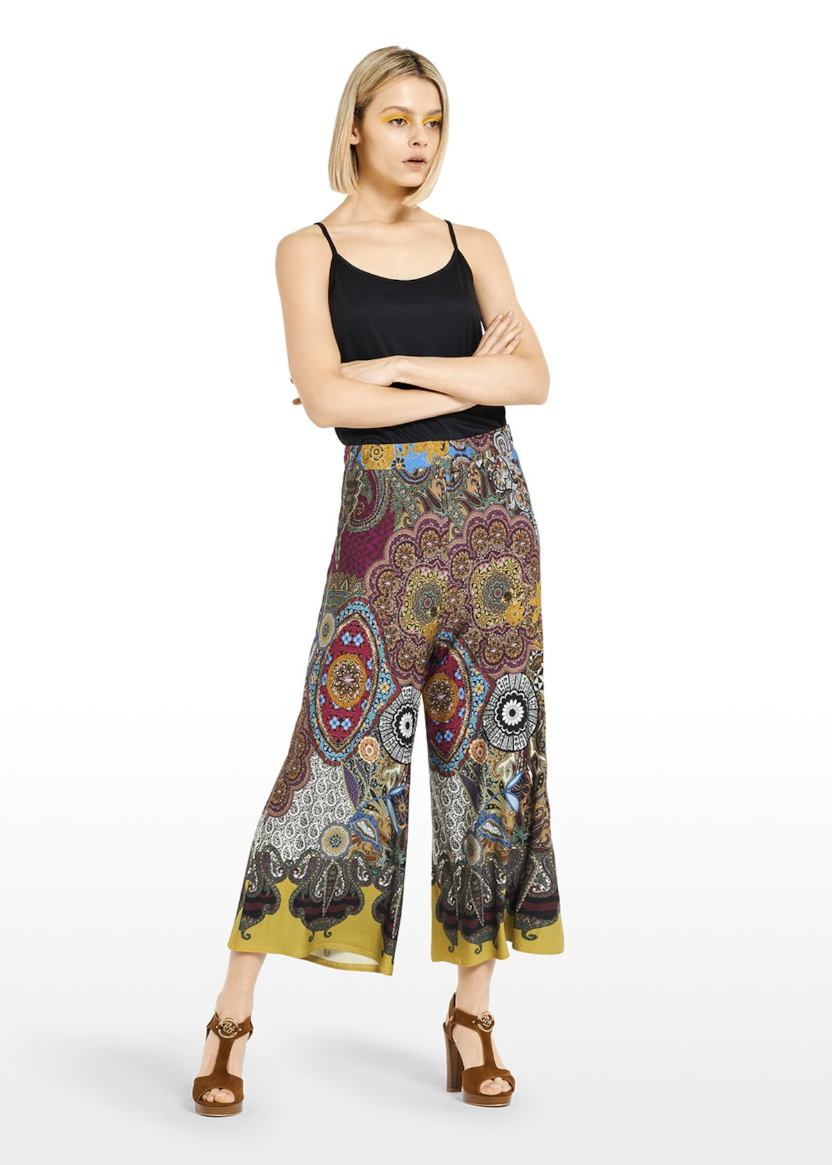 Cropped pants 'Peggy' Megan design with ethno fantasy - Miele / Black Fantasia - Woman